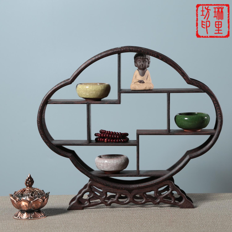 中式实木博古架鸡翅木微型红木博古架多宝阁展示架可定制小博古