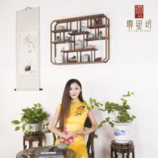 鸡翅木实木挂壁式博古架墙面置物架中式博古架多宝阁定制批发摆件