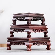 红木虎脚底座正长方形酸枝木工艺品摆件红木雕刻盆景奇石佛像花瓶底座