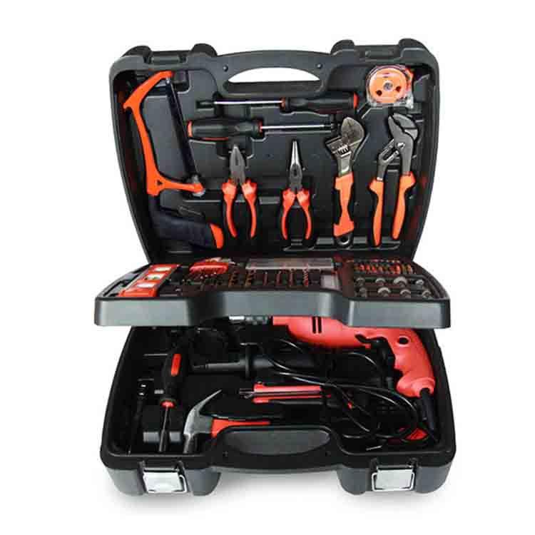 138件三层家用电钻组合五金工具套装 家用冲击电钻多功能电动工具