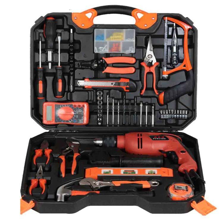 120木工电动五金工具套装 电钻家用工具箱电工维修组合组套冲击钻