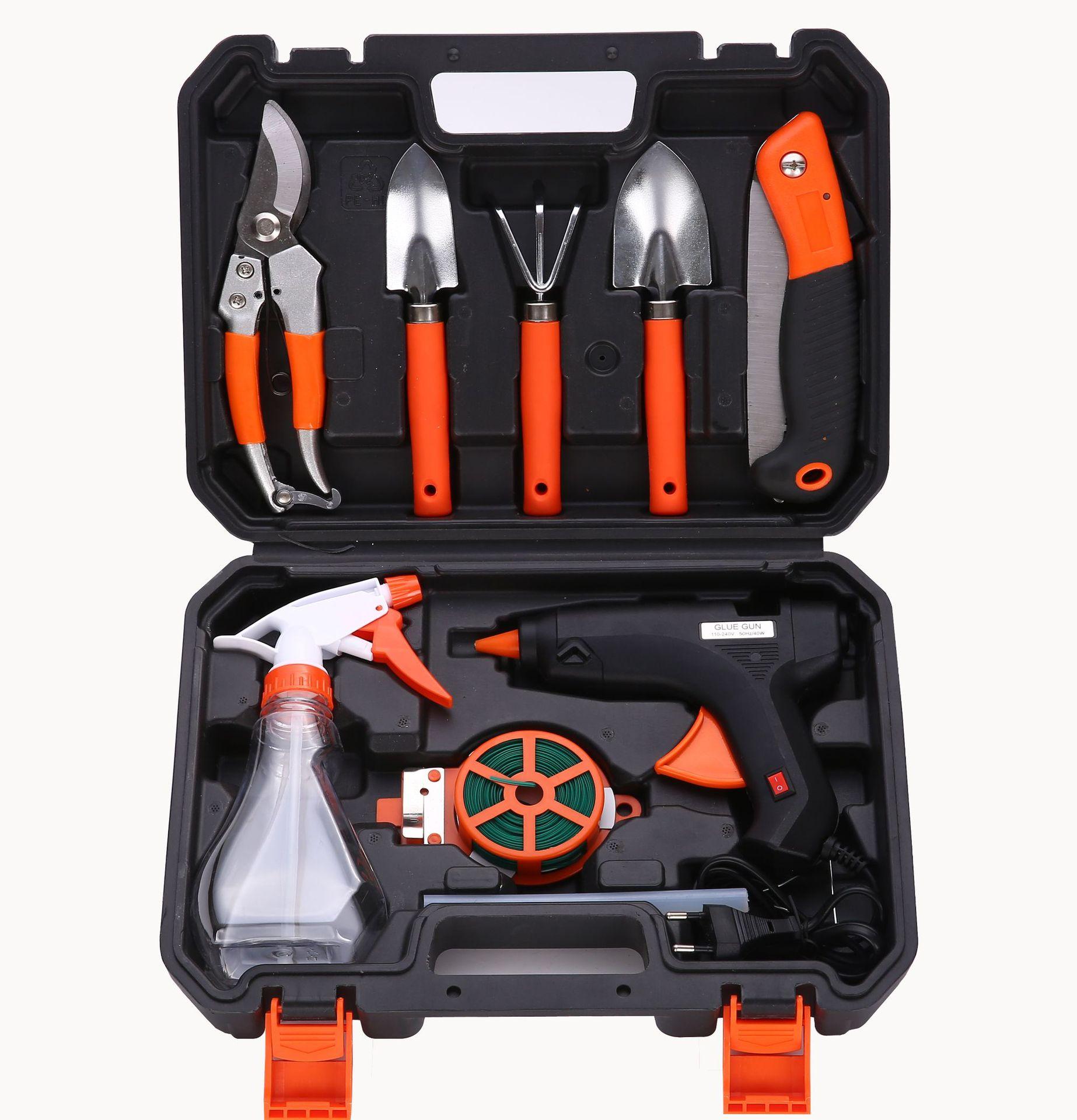 五金工具箱 园林园艺工具组合组套 电热胶枪套装 花园种花工具