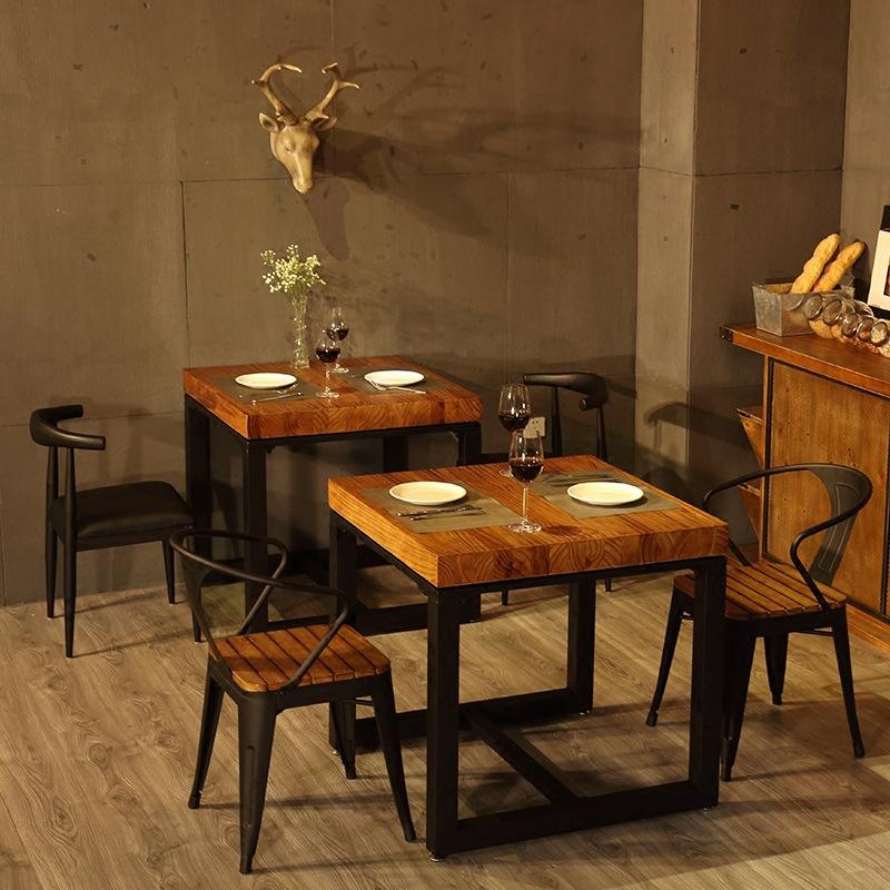 美式复古餐厅实木餐桌椅组合咖啡厅铁艺方桌饭店简易吃饭桌子