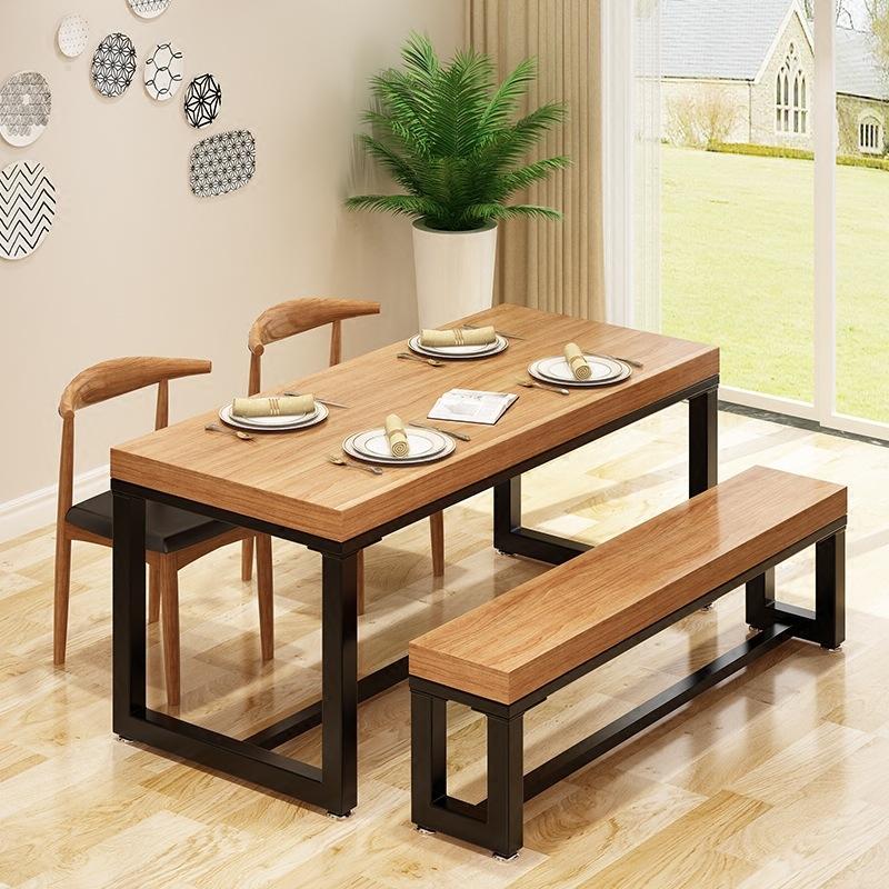 现代简约实木餐桌椅组合 火锅店多人吃饭餐桌 轻奢小户型餐厅餐桌