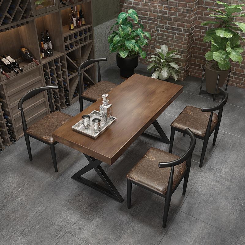 复古工业风实木火锅桌椅 中式酒吧清吧餐桌椅 餐厅铁艺餐桌椅组合