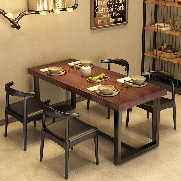 美式复古餐厅实木餐桌 食堂铁艺餐桌椅组合小户型多人位洽谈桌子