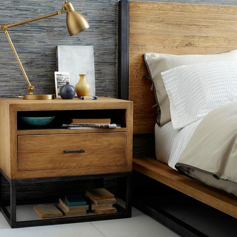 美式复古铁艺单抽屉收纳柜工业风实木床头柜公寓简易储物边柜