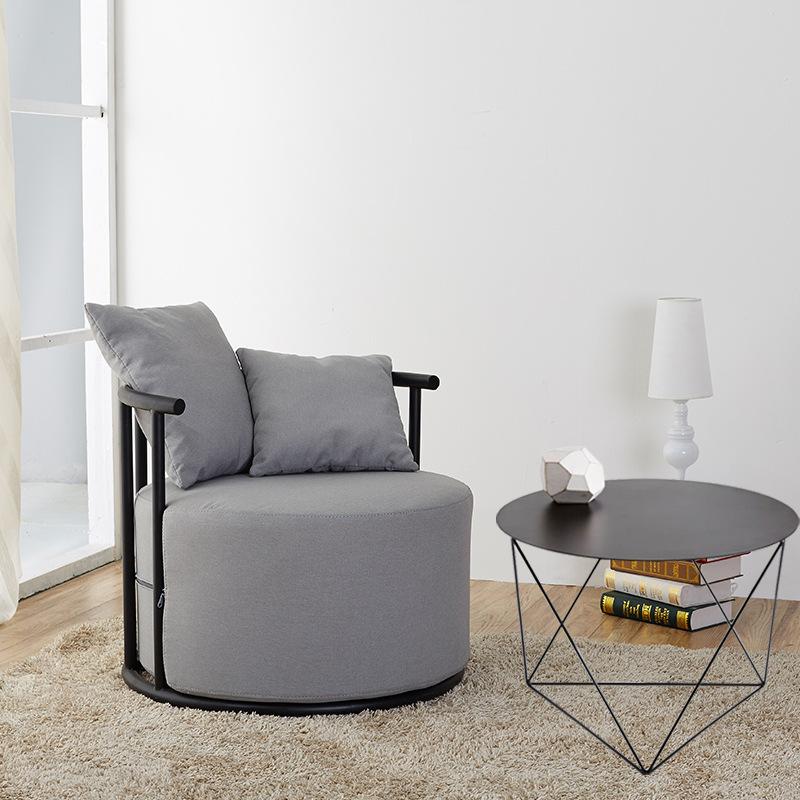 简约现代家用休闲单人沙发椅办公室会客布艺沙发椅阳台休闲咖啡椅