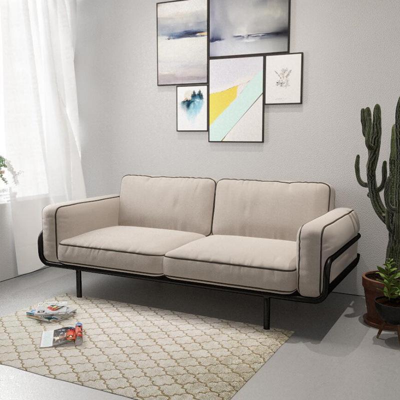 北欧简约客厅布艺沙发组合奶茶店双人铁艺沙发椅创意时尚懒人沙发