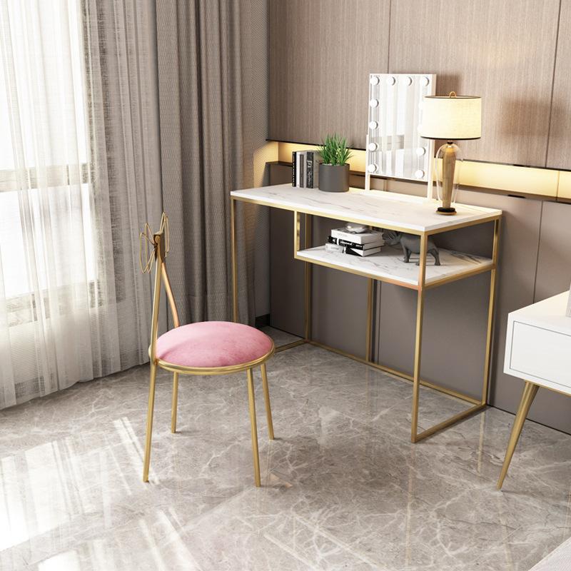 现代简约大理石梳妆台卧室轻奢公主化妆桌美甲室简易梳妆桌椅