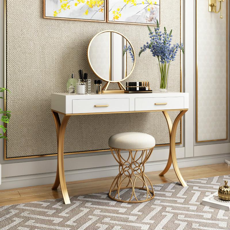 北欧现代卧室实木梳妆台白色烤漆铁艺金色梳妆桌美甲室公主化妆桌