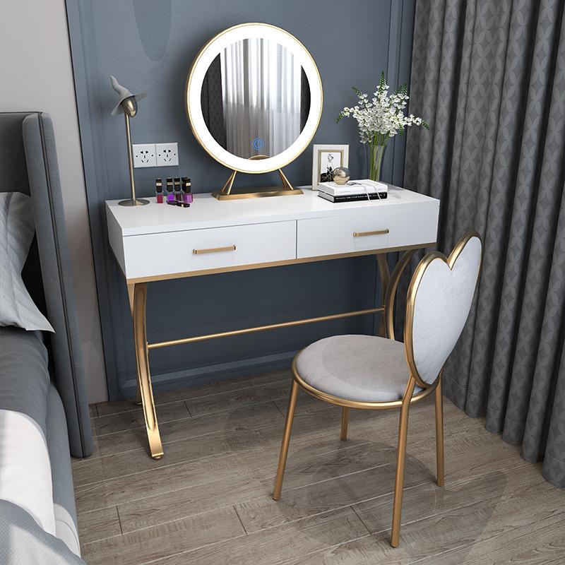 北欧轻奢铁艺化妆台 简约卧室板材化妆桌 小户型民宿收纳梳妆台