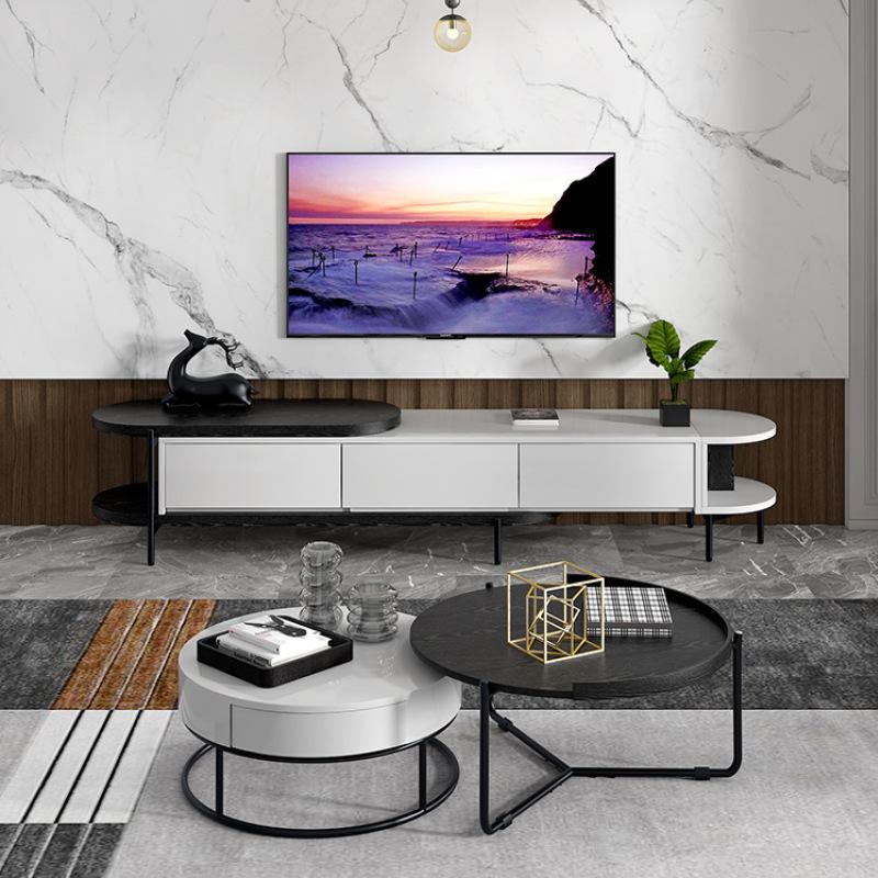 北欧大小圆茶几伸缩电视柜简约小户型轻奢圆形客厅茶几电视柜组合