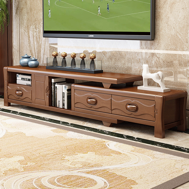 茶几电视柜储物柜组合中式实木客厅多功能电视柜地柜实木茶几客厅