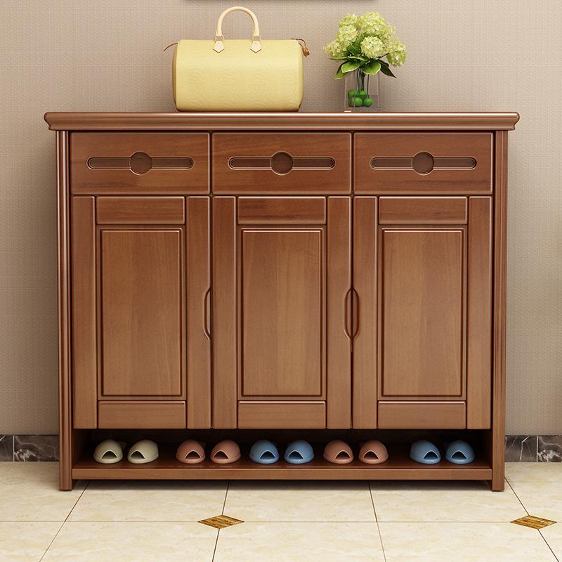 多层大容量鞋柜实木家用门口经济型门厅柜中式省空间对开门储鞋柜