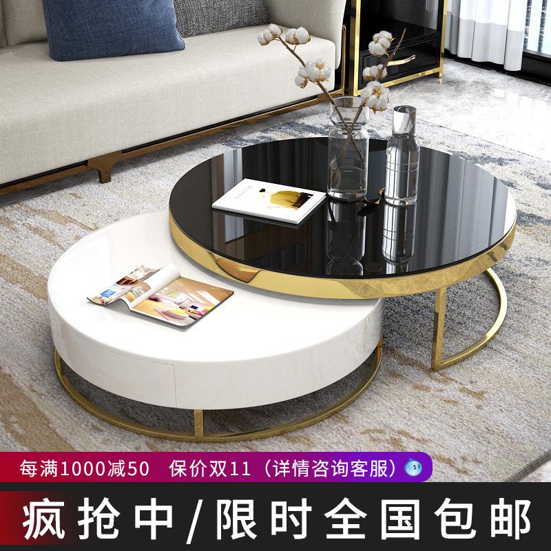 后现代轻奢茶几电视柜组合现代简约客厅小户型多功能北欧圆形茶几