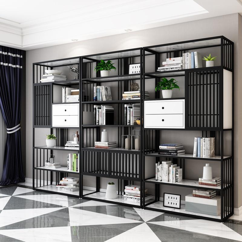 现代简约铁艺多层落地式置物架客厅靠墙金色展示架办公室隔断书架