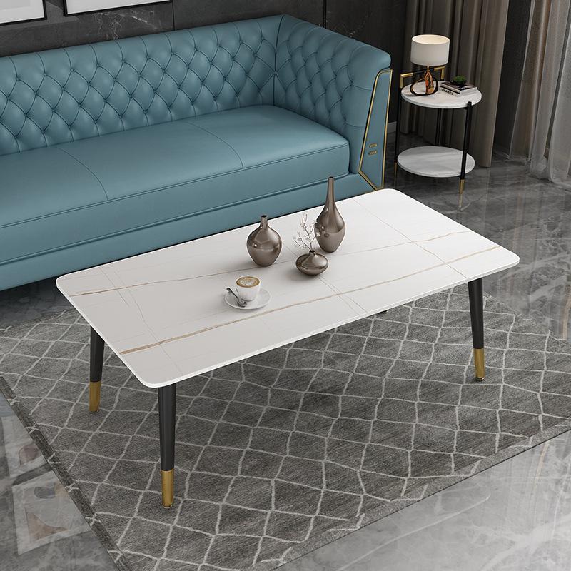 意式极简岩板铁艺茶几客厅泡茶小桌子简约现代长方形轻奢茶几定制