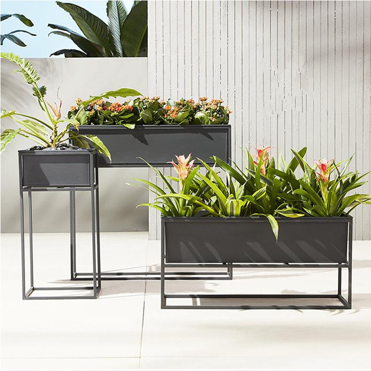简约室内铁艺花架 落地式露天展示花架 奶茶店咖啡厅绿植花槽花箱