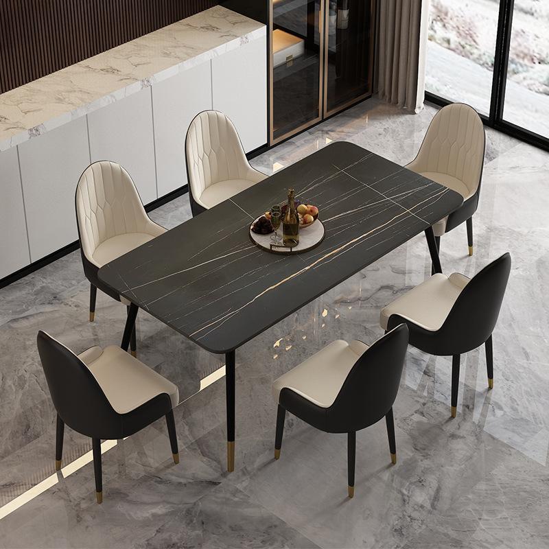 意式极简岩板餐桌椅长方形餐厅吃饭桌子家用轻奢大理石餐桌椅组合