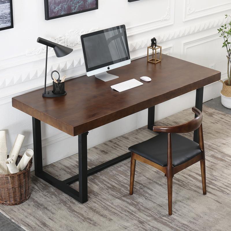 现代简约实木办公桌家用书房台式电脑桌办公室员工单人写字台桌子