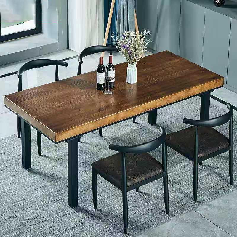 美式简约实木餐桌椅组合家用铁艺长方形吃饭桌子椅子工业风餐桌椅