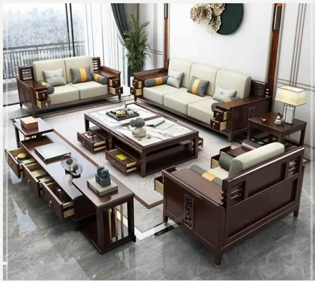 新中式实木沙发带扶手箱客厅家具