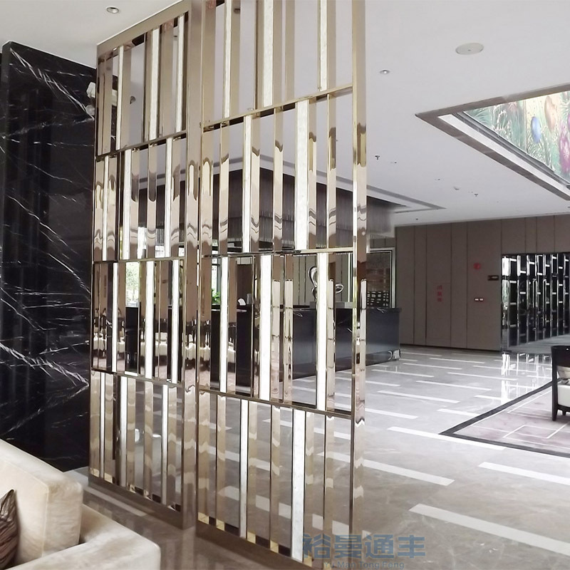会所KTV酒店客厅装饰新款立体菱形玄关镜面香槟金不锈钢屏风隔断