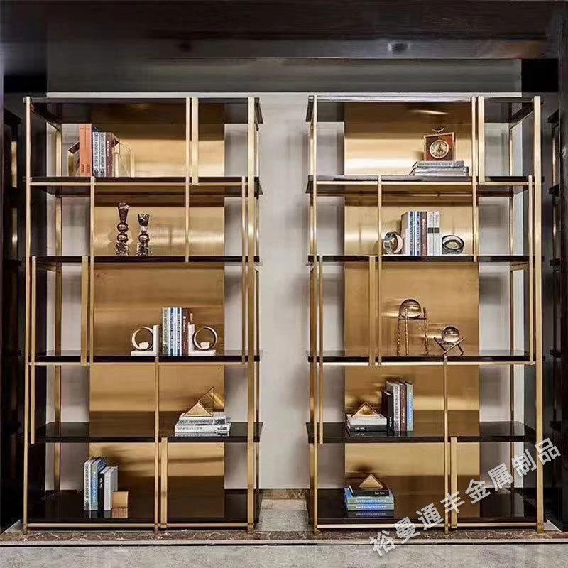 厂家定制轻奢简约不锈钢书柜 后现代简约金色304不锈钢书架展示架