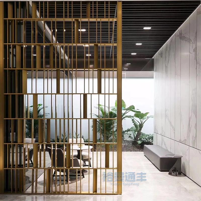 酒店办公装饰简约现代金属钛金落地不锈钢屏风隔断厂家专业定制