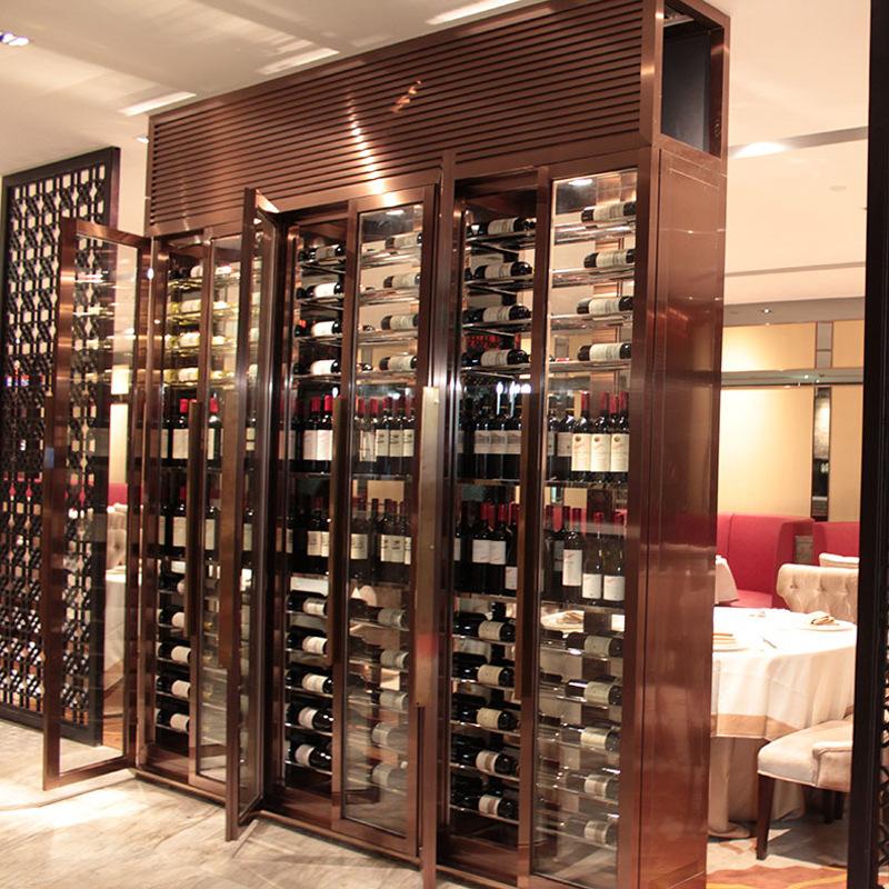 五星级酒店家用客厅餐厅装饰隔断柜 豪华美式恒温不锈钢酒柜定制