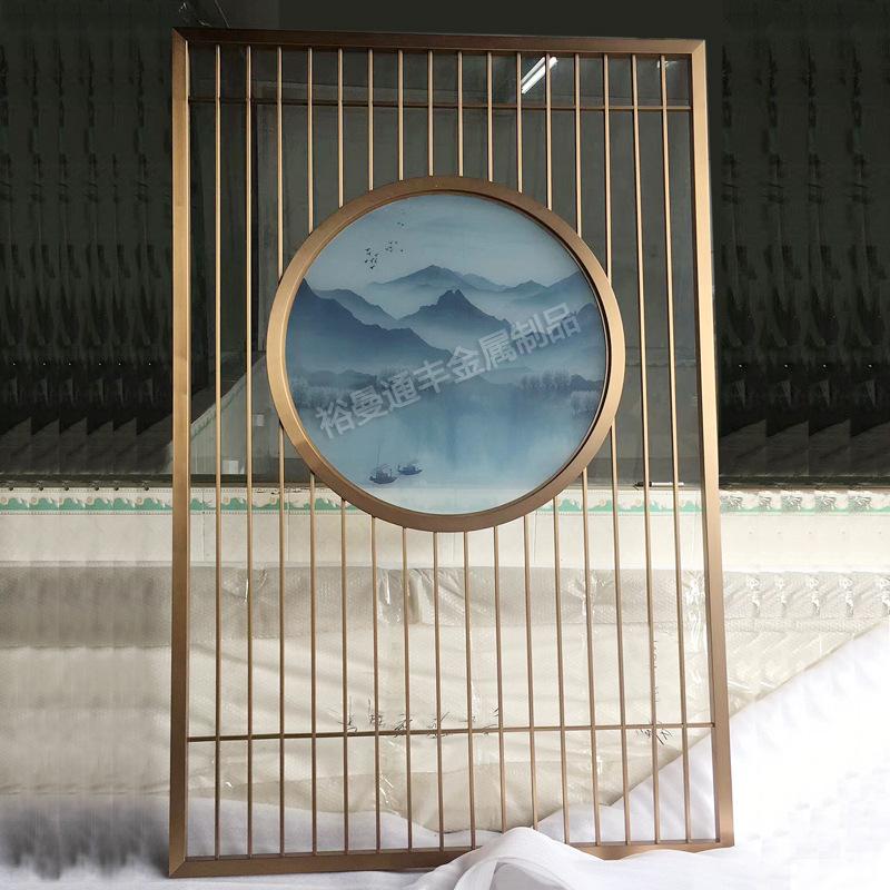 厂家定制玄关新中式花格禅意装饰画圆形钛金不锈钢玻璃屏风山水画