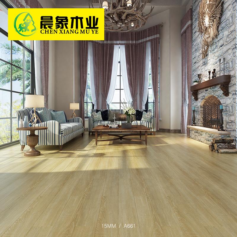 厂家直销国标北欧15mm多层实木复合地板手抓纹冷灰色环保锁扣地暖