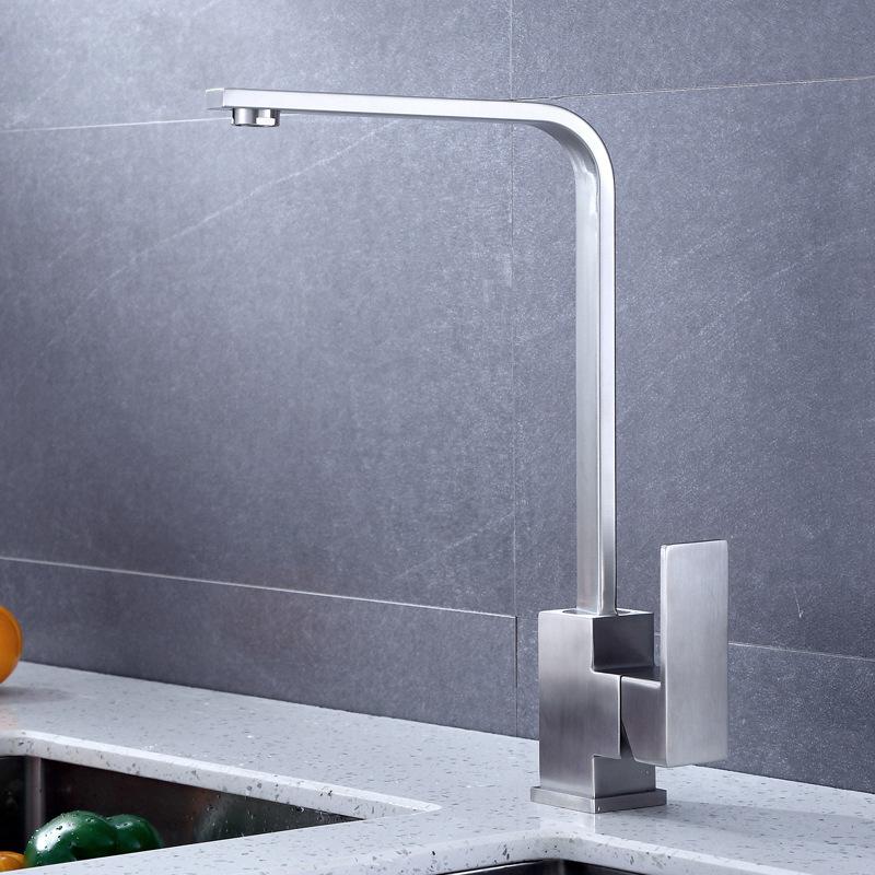 不锈钢方形洗菜盆水龙头 冷热厨房水槽水龙头洗菜盆四方水龙头