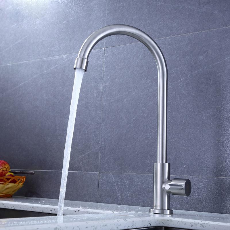 不锈钢304厨房单冷水龙头 洗菜盆洗碗水槽龙头 厂家直销