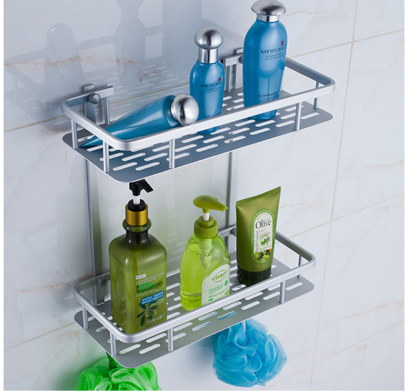太空铝双层长方铝板置物架 带钩托盘浴室化妆品收纳挂件