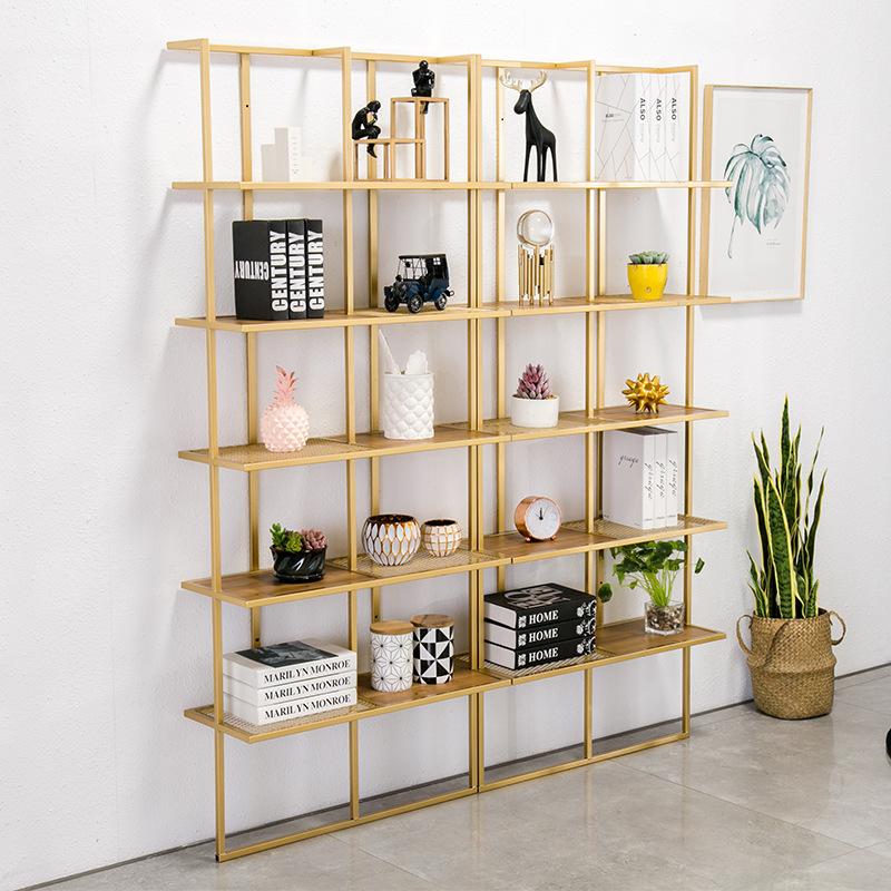 北欧铁艺落地式置物架 家用客厅靠墙多层收纳架 办公室展示书架
