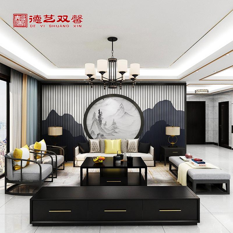 样板房客厅家具 简约现代禅意轻奢 新中式实木布艺沙发单人椅组合