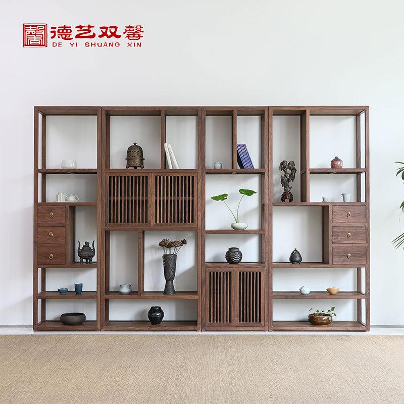 新中式实木博古架书柜 现代简约展示柜古典 胡桃木书架办公室家具
