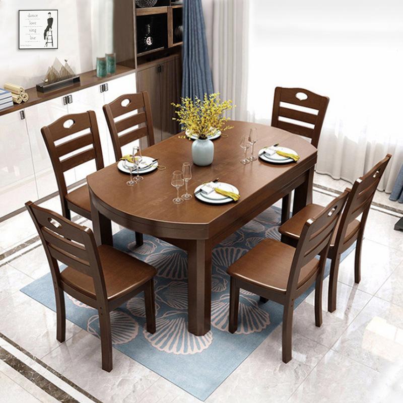 全实木餐桌中式餐厅伸缩圆形饭桌长方形可折叠家用餐桌椅组合批发