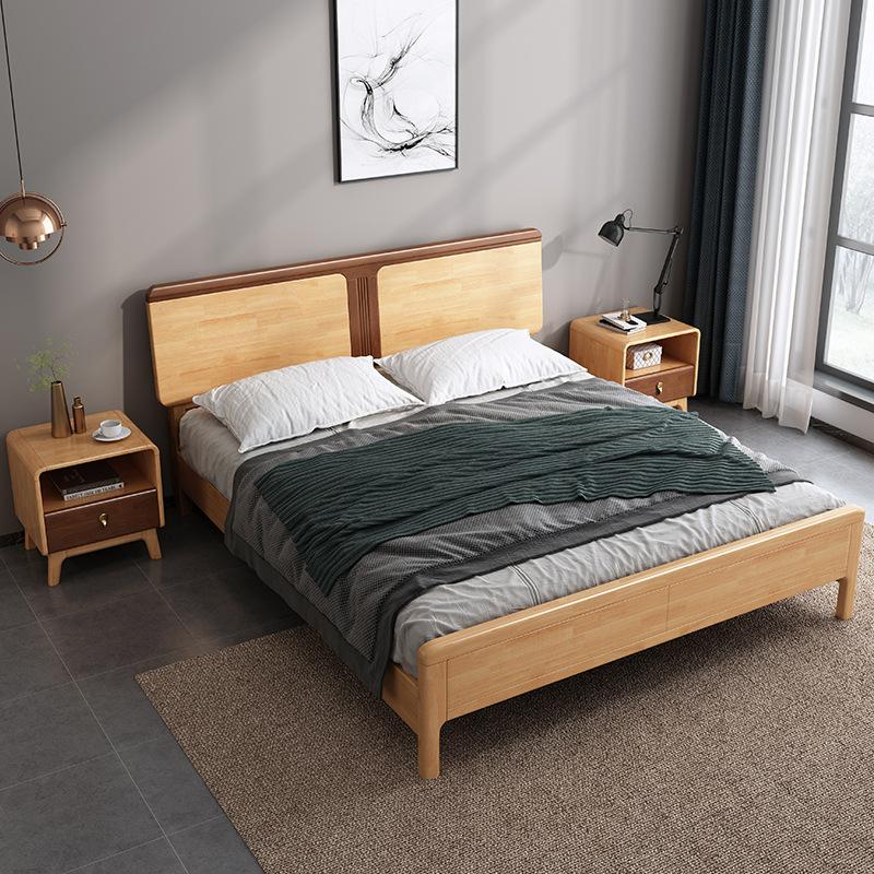 北欧现代简约拼色1.5m1.8米单双人床小户型卧室床 实木床家具定制