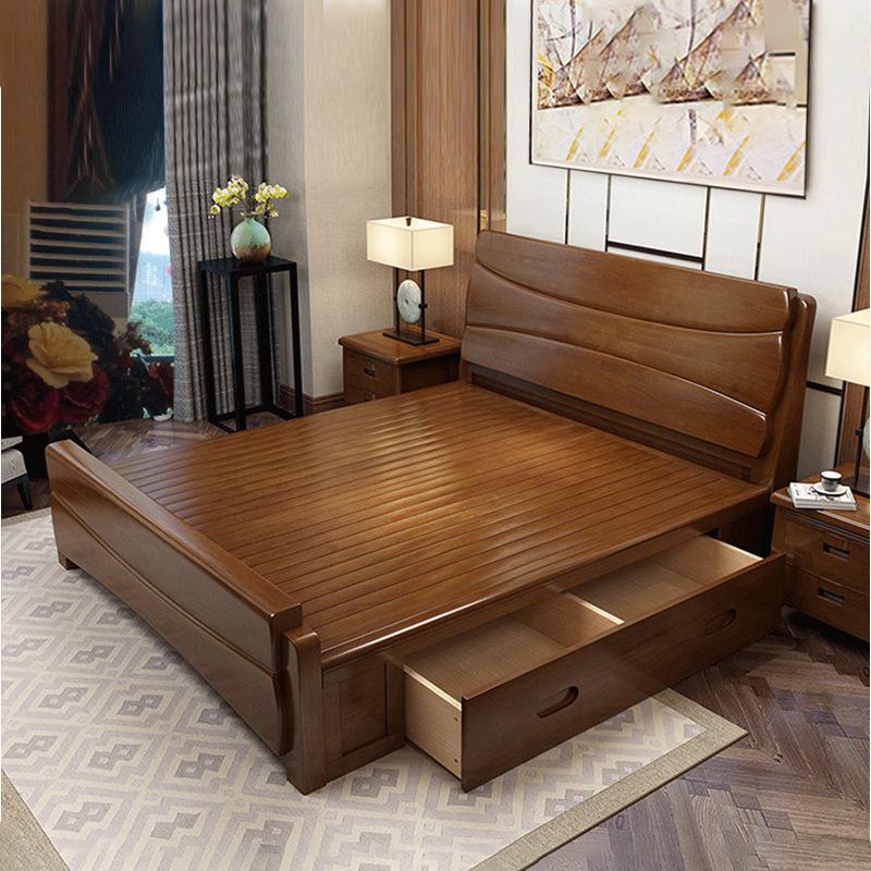 酒店中式实木床1.2米单人床1.5m1.8米双人床木床实木家具