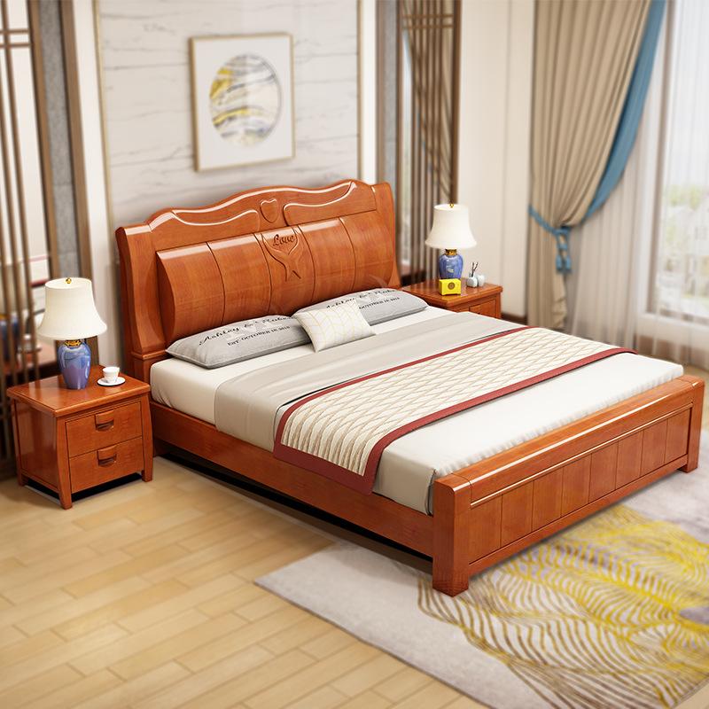 中式实木床酒店家具橡胶木1.8米1.5米单人床双人床卧室床厂家定制