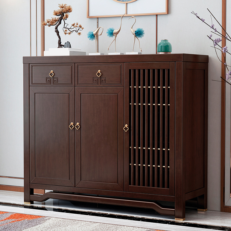 新中式实木鞋柜家用储物柜玄关柜客厅门厅柜木质防尘收纳柜直销