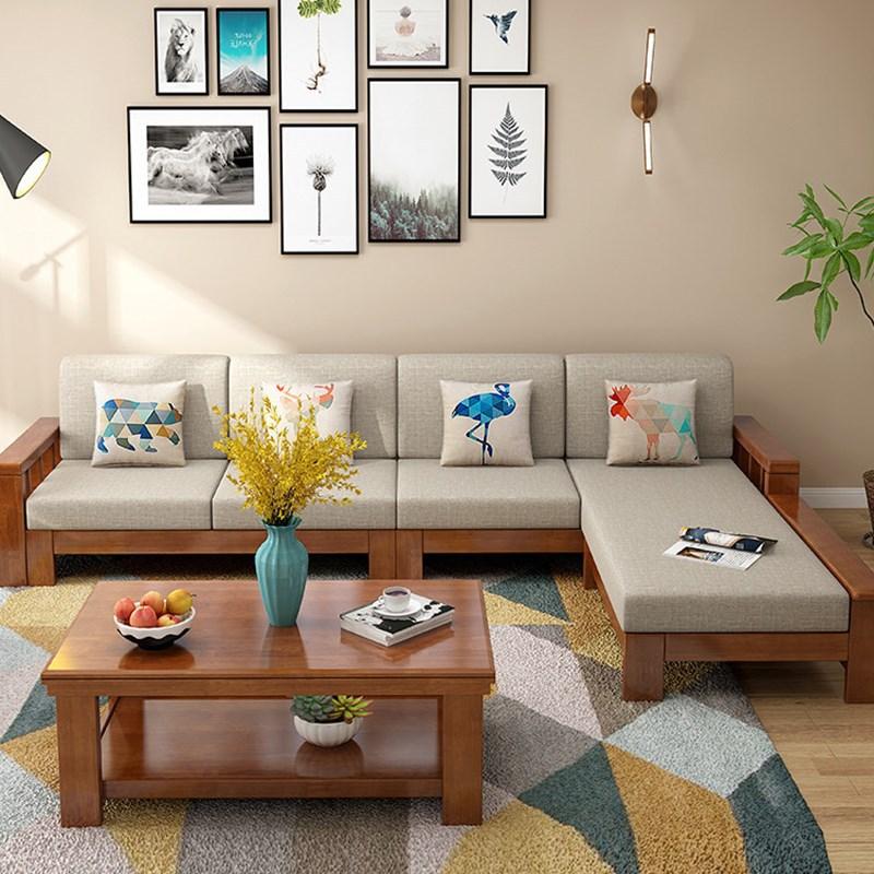 新中式实木沙发简约可拆洗布艺沙发床贵妃实木家具厂家直销批发