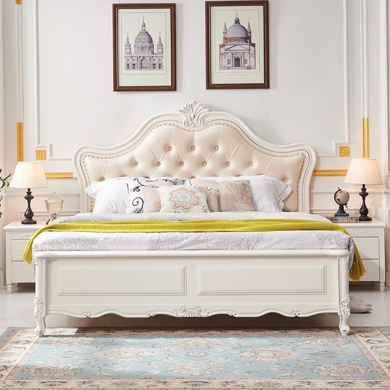厂家直销实木床橡胶木1.8米欧式低箱软靠床双人卧室婚床