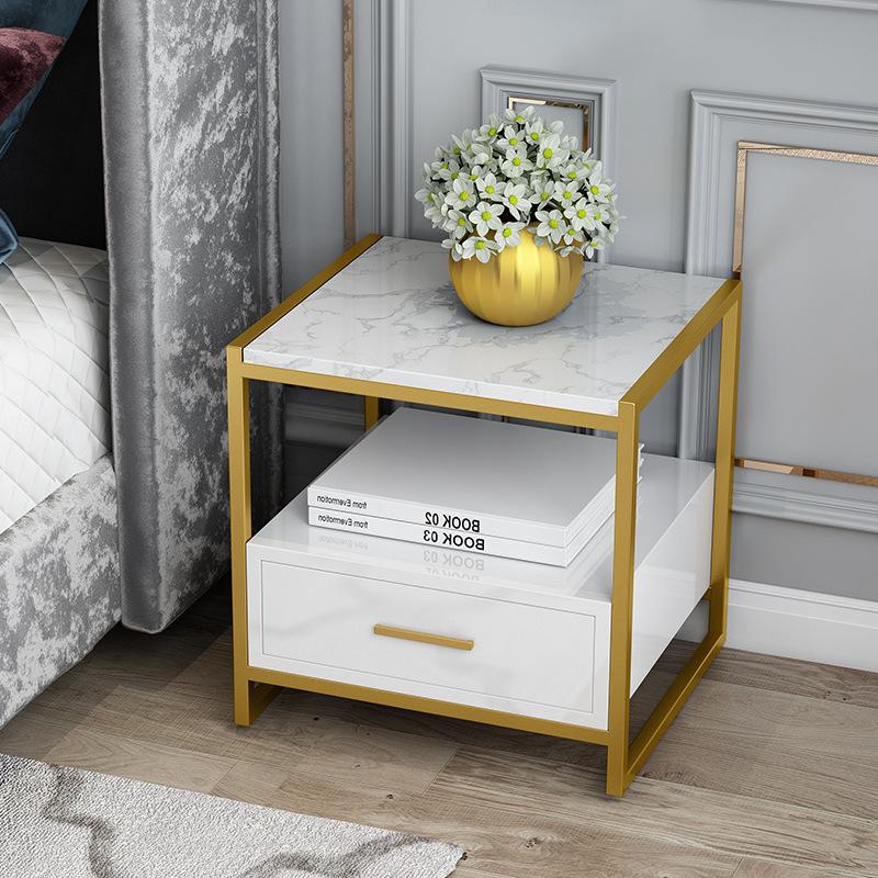 北欧床头柜简约现代卧室储物柜床边小柜子金色轻奢大理石收纳柜