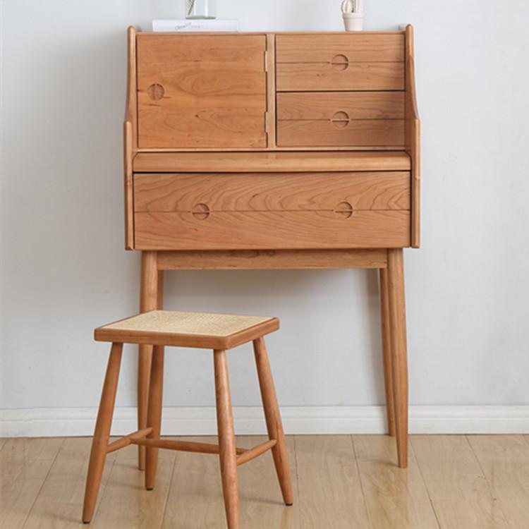 北欧实木梳妆台樱桃木化妆桌小户型床头柜边柜电脑桌环保卧室家具