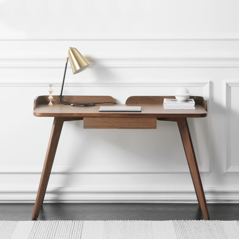北欧书桌简约现代书房实木家具小户型家用黑胡桃木色写字台电脑桌