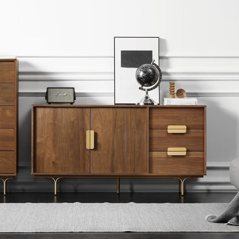北欧餐边柜小户型客厅家用胡桃色轻奢家具现代简约实木厨房储物柜